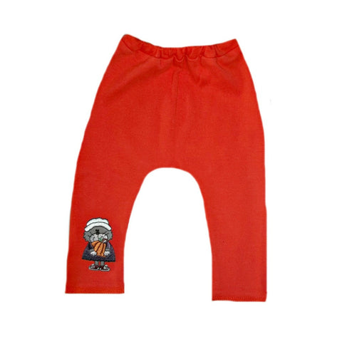 Unisex Baby Orange Thanksgiving Pants with Pilgrim Cat