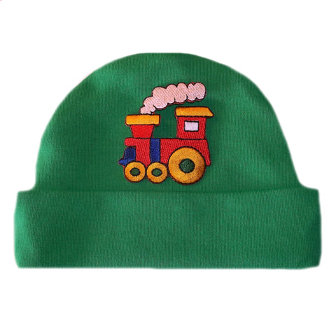 Baby Boys' Kelly Green Train Hat Preemie and Newborn