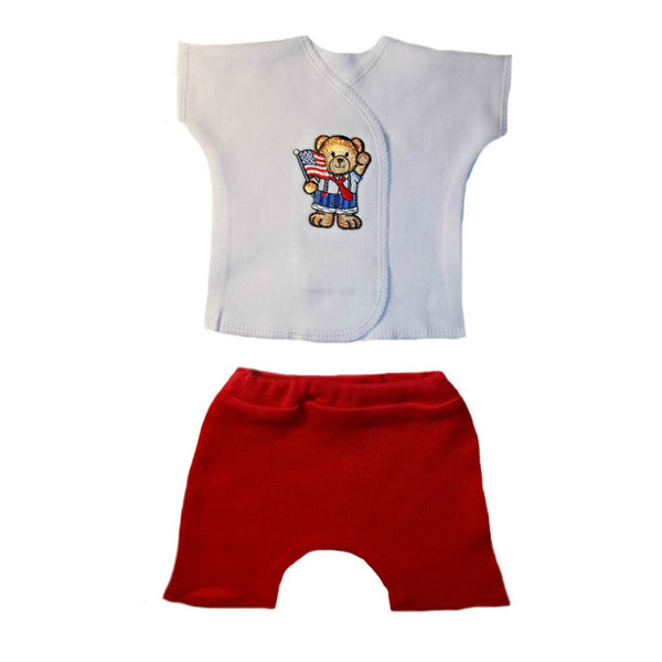 Proud USA Unisex Baby Shorts Clothing Set with Teddy Bear Waving Flag