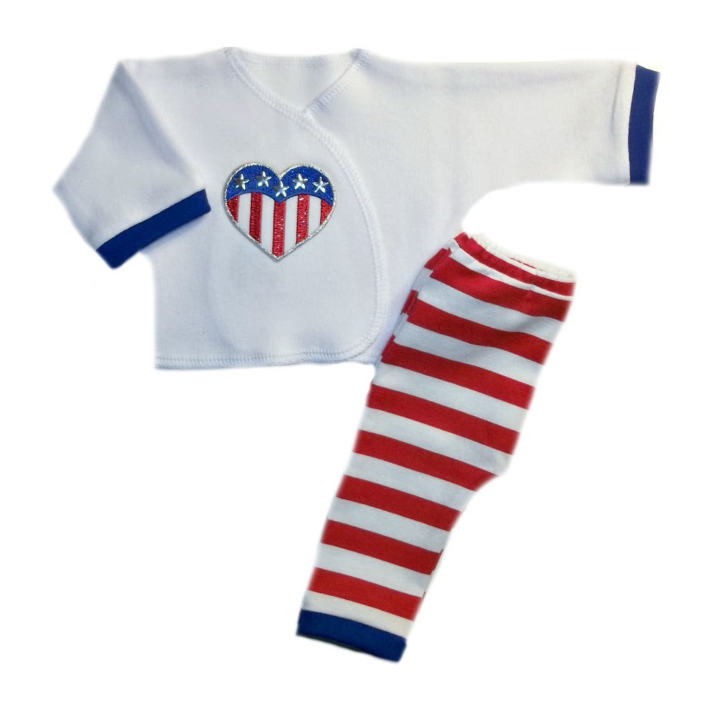 a0874a399 USA Stripes and Heart Unisex Baby Outfit | Jacqui's Preemie Pride