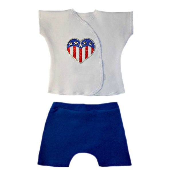 Newborn and Preemie Unisex Baby USA Shorts Clothing Set