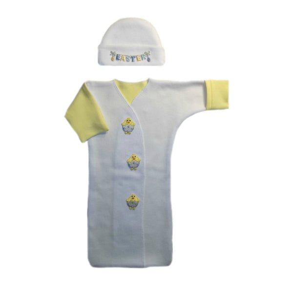Easter Chick Unisex Baby Bunting Gown and Cap Set