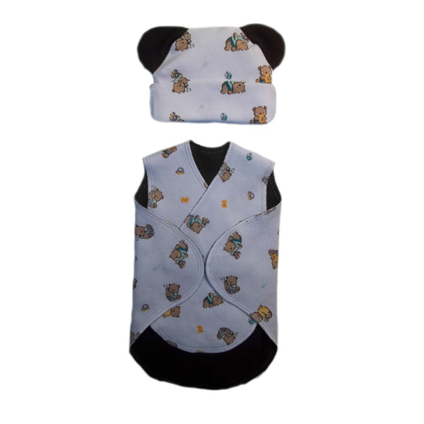 Baby Boys Teddy Bear and Toys Preemie NICU Snuggler Wrap