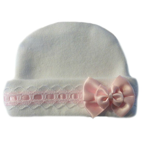 Newborn and Preemie Baby Girl White Hat with Pink lace Trim.