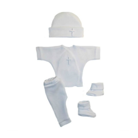 Four Piece Unisex Baby Clothing Outfit with White Crosses
