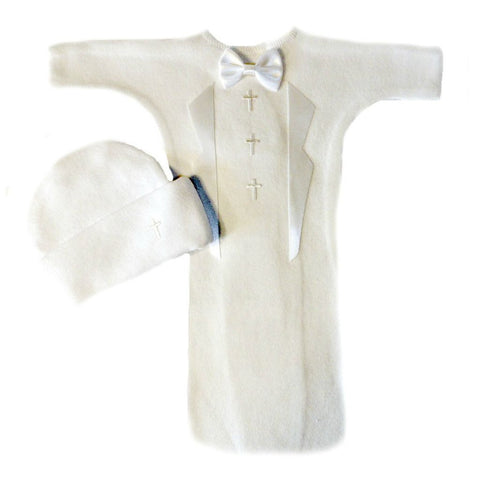Baby Boys' White Tuxedo Bunting Gown Set with Crosses Sized For Preemie and Newborn Babies