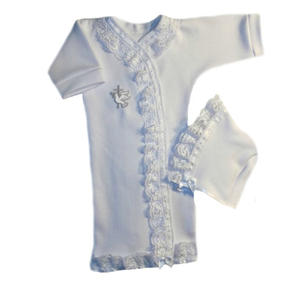 Baby Girls' Dove and Cross White Lace Burial Gown Set|