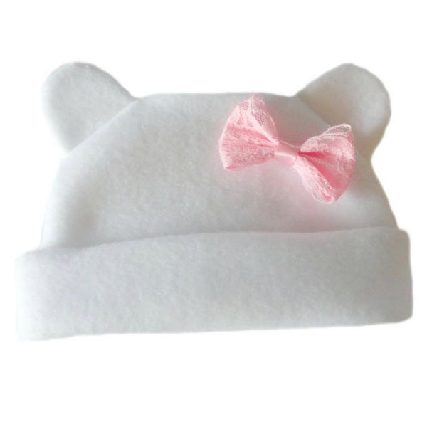 Baby Girl  White Fleece Hat with Ears and Pink Bow for Preemie, Toddlers and Newborns!