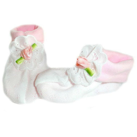 Baby Girls' Pink and White Pointelle Booties with Rose Sized For Preemie and Newborn Babies