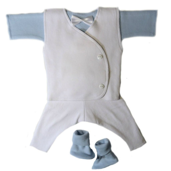 Baby Boys' Dapper White Suit with Blue Shirt Sized for Preemie and Newborn Babies
