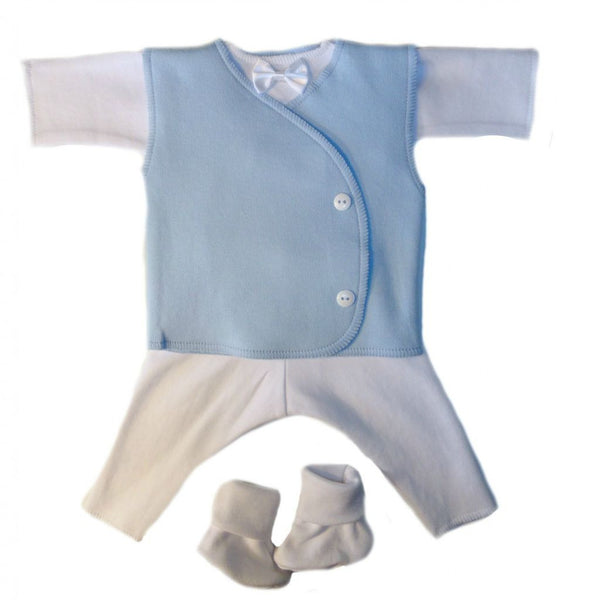 Baby Boys' Handsome Suit with Blue Vest Sized for Preemie and Newborn Babies