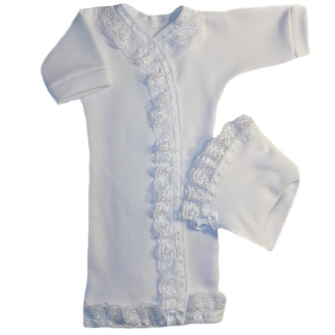 Baby Girls' Lovely White Lace Gown and Bonnet Set