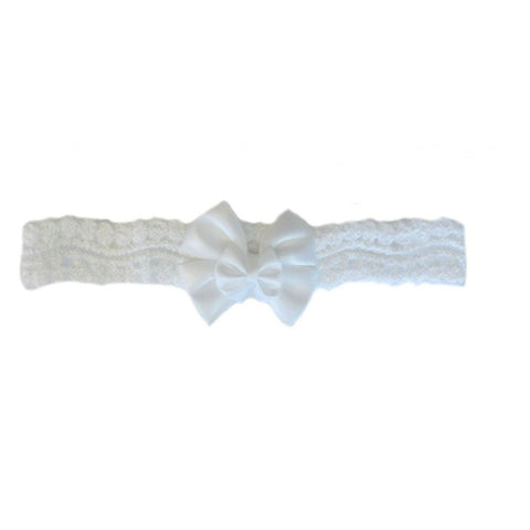 Beautiful White Lace Headband with Double Bow made for Preemies and Newborn babies