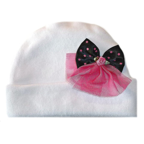 Jacqui's Baby Girls' White Hat with Pretty Tulle Bow