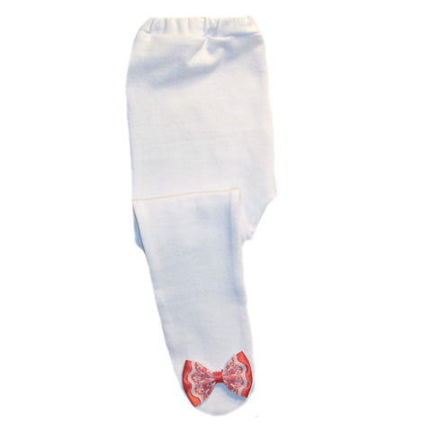 White Baby Girl Tights with Red and White Lace Bows
