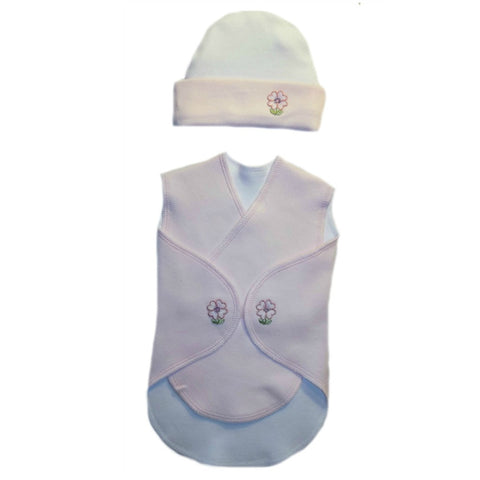 Baby Girls' Pretty Pink Flowers Preemie Snuggler Wrap and Hat