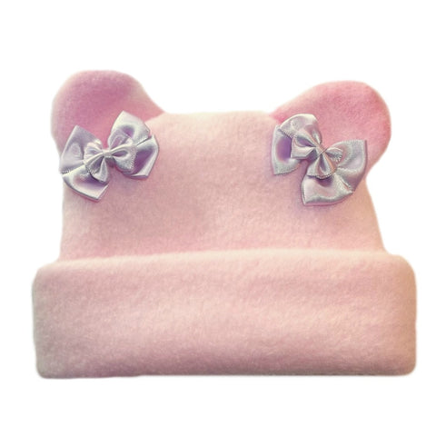 Toddler, Newborn and Preemie Pink Fleece Hat with Camo Ears!
