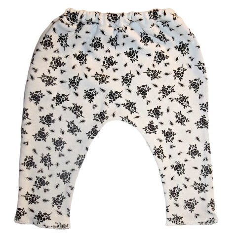 Baby Girl White Leggings with Black Flowers