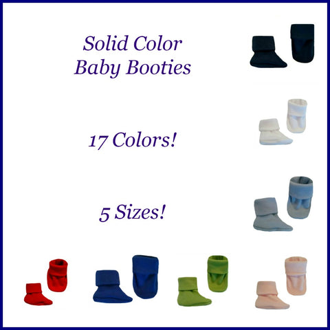 Newborn and Preemie Solid Color Booties 17 Colors 5 Sizes