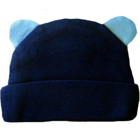 Baby Boys' Blue Bear Hat with Ears for Preemie and Newborn Baby's