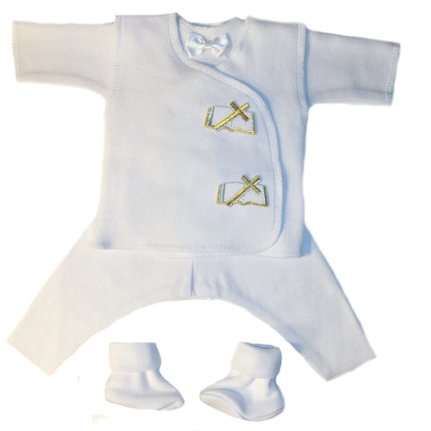 Baby Boys' White Christian Burial Suit Sized For Preemie and Newborn Babies