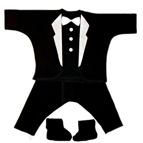 Baby Boy's All Black Suit with White Lapels. Premature Babies, Preemie and Newborn