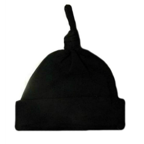 Newborn and Preemie Unisex Baby Black Knotted Hat