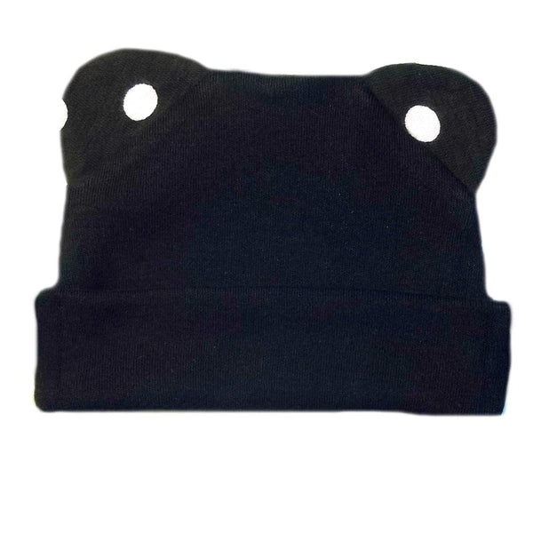 Unisex Baby Black Hat with Polka Dot Ears!