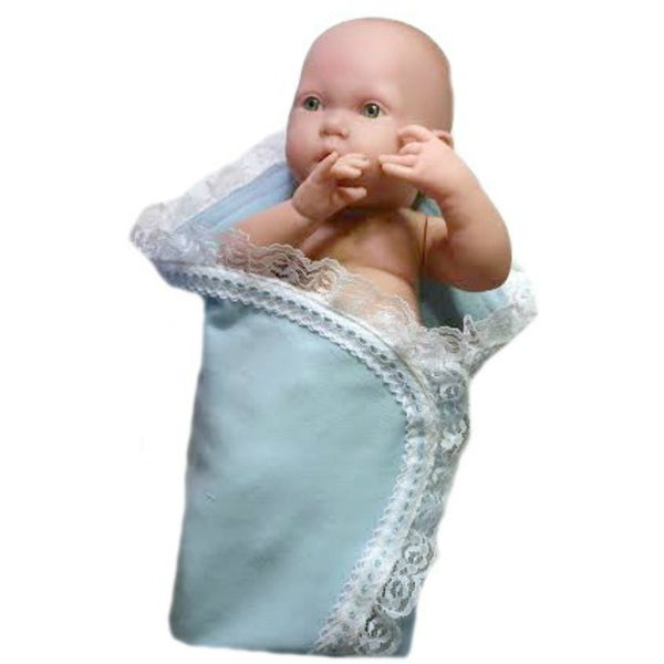 Preemie and Newborn Unisex Baby Receiving Blanket with Lace