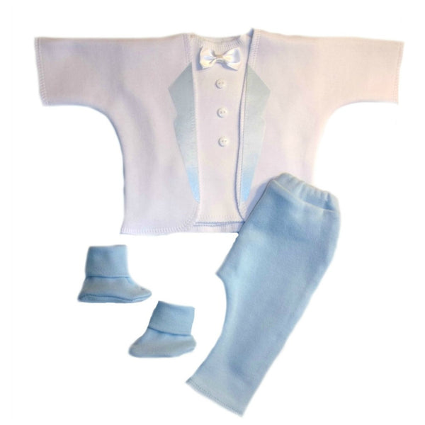 Baby Boys' Dashing White & Blue Tuxedo Suit Sized for Preemie and Newborn Babies