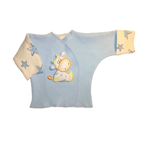 Baby Boys' Cow and Stars Long Sleeve Shirt with Mitten Cuffs