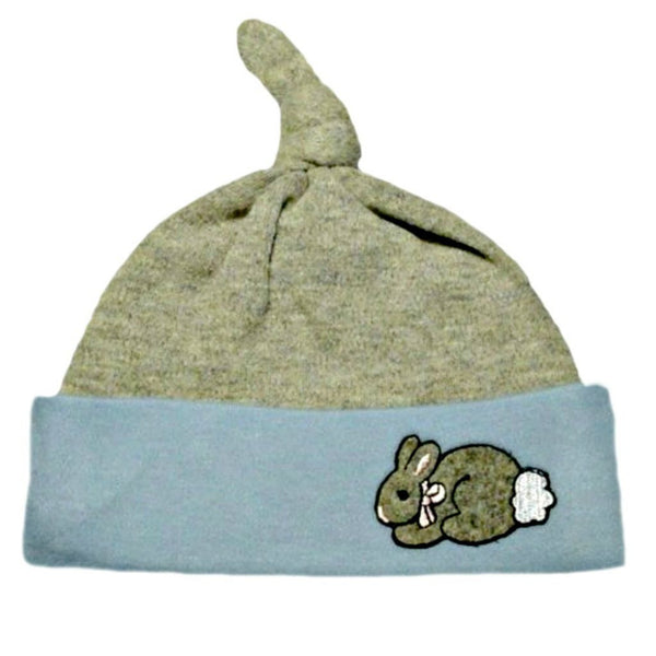 Baby Boys' Blue & Gray Knotted Easter Bunny Hat for Preemie and Newborn Babies