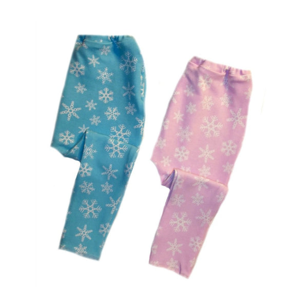 Pink and Blue Snowflake Winter Baby Leggings - Set of Two