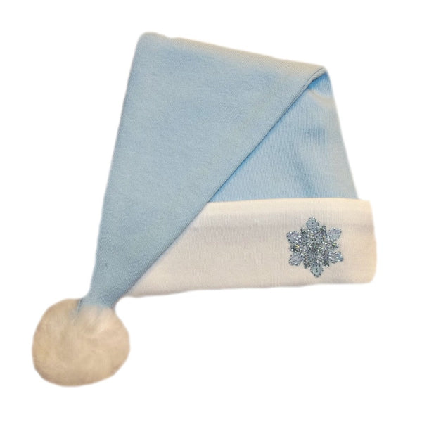 Baby Boys' Blue Snowflake Santa Hat 7 Sizes for preemie, newborn and toddlers up to 24 months.