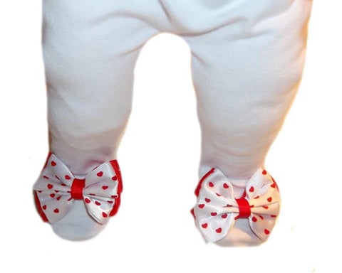 Baby Girl White Tights with Sweet Red Heart Bow