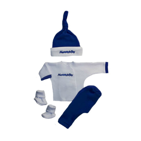Newborn and Preemie Mommy's Boy 4 Piece Baby Clothing Outfit