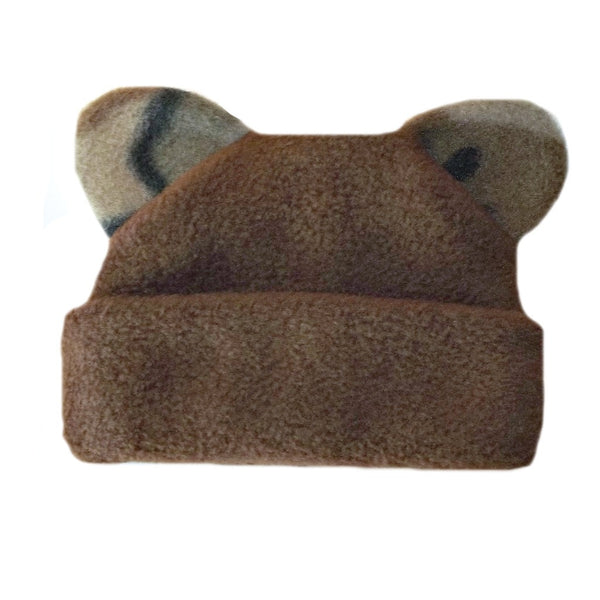 Baby Boys' Brown Fleece Hat with Camouflage Ears