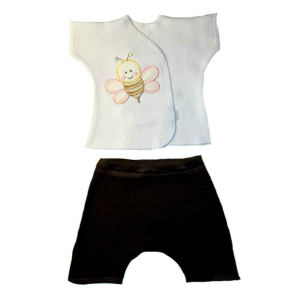 Baby Girls' Sweet Bumblebee Shorts Set Sized For Preemie and Newborn Babies