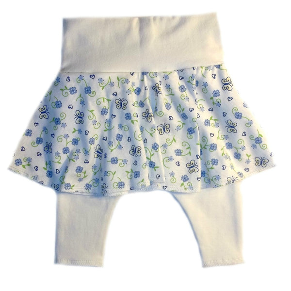 Baby Girls' Blue Butterflies and Flowers Skirt and Leggings Set
