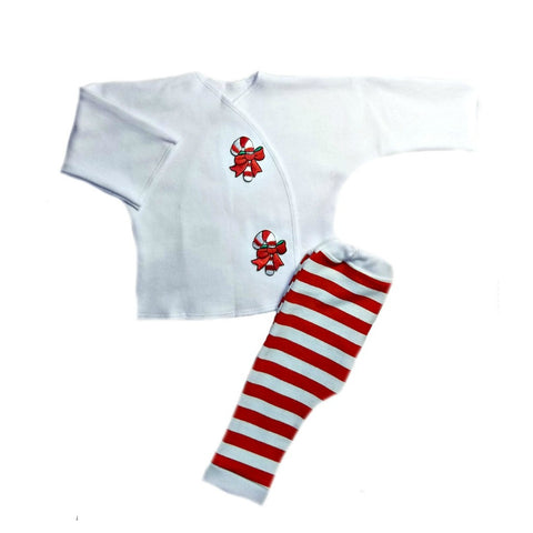 Preemie and Newborn Candy Cane Stripes Christmas Baby Clothing Outfit