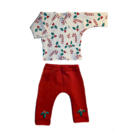 Preemie and Newborn Cute Candy Cane Christmas Baby 2 Piece Clothing Outfit