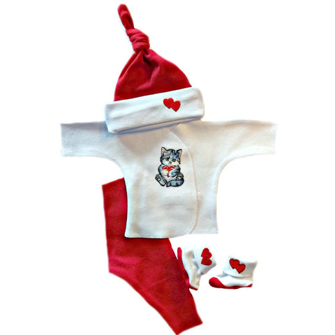 Newborn and Preemie Kitten Love Baby Clothing