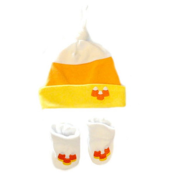 Newborn and Preemie Unisex Baby Candy Corn Hat and Booties. Halloween Toddler Accessory.