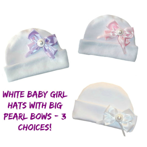 White Baby Girl Hats Big Pearl Bows!