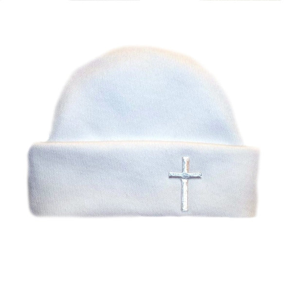 Unisex Baby White Hat with Cross for Preemie and Newborn