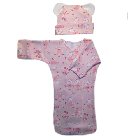Dancing Ballerina Bear Baby Girl Bunting Gown and Hat