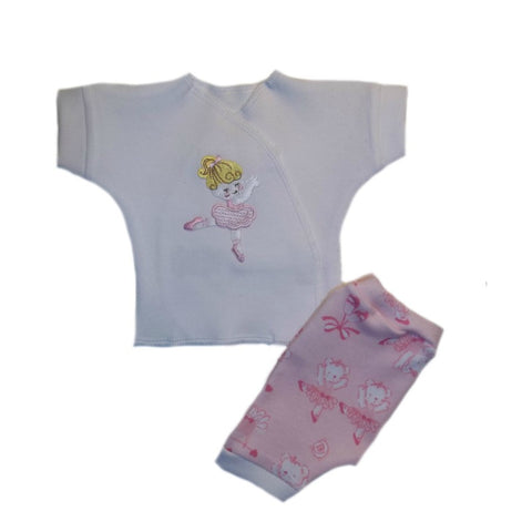 Preemie and Newborn Baby Girls' Dancing Ballerina and Bears Shorts Clothing Outfit