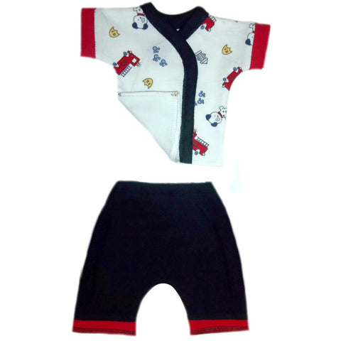 Newborn and Preemie Baby Boy Dalmatian Shorts Clothing Set