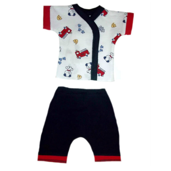 Newborn and Preemie Dalmatian Fire Trucks Shorts Clothing Set