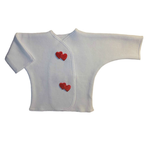 Unisex Baby White Long Sleeved Shirt with Red Hearts